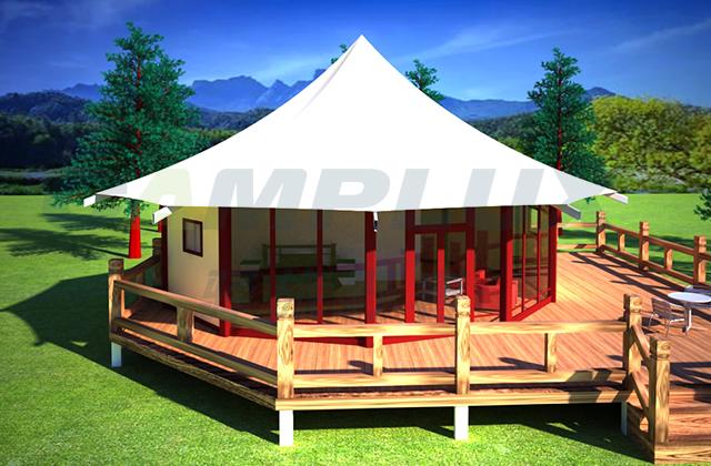 膜结构六边形帐篷酒店全景展示